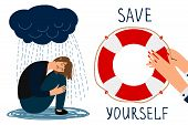 Save Yourself Vector Concept. Depressed Girl And Lifebuoy Illustration. Save Yourself Lifebuoy, Unde poster