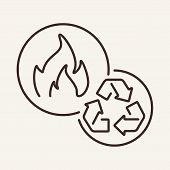 Biogas Line Icon. Flame, Recycling, Production. Biofuel Concept. Can Be Used For Topics Like Inciner poster