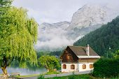 Morning In The Alps. Beautiful Foggy Morning Scenery In Alps Region, Austria. poster