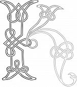 Celtic Knot-work Capital Letter K