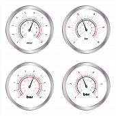 Set Of Manometers, Isolated On White Background