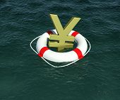 Sign of Japanese yen in terms of rescue floats on water
