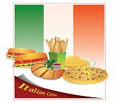 stock photo of cheesesteak  - Illustration of a sandwich pizza pasta against the backdrop of the Italian flag - JPG