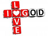 3D I Love God Crossword Block Text