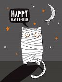 Funny Halloween Vector Illustration With Mummy Cat And Mummy Moon.scary Cat Wrapped With Bandages St poster