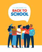 Welcome Back To School Card Illustration Of Diverse Teen Student Group Hugging Together. Highschool  poster