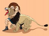 stock photo of samson  - Samson the judge of Israel struggles with a lion - JPG
