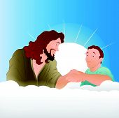 Jesus Christ with Young Boy Illustration