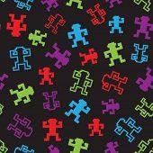 Vector pixel monkeys seamless pattern