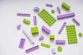 Creative Building Out Of Bright Constructor Bricks.plastic Toy Building Blocks.creative Building Out poster