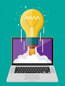 Light Idea Bulb Launching Into Space From Laptop Screen. Startup, Idea, Creativity, Innovation. Crow poster