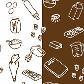pic of cake-mixer  - A seamless vector pattern of cake ingredients in two styles - JPG