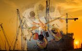 Double Exposure Business Construction Industry And Engineering Concept, Businesspeople Are Handshake poster
