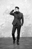 Elegancy And Male Style. Businessman Or Host Fashionable Outfit Grey Background. Fashion Concept. Cl poster