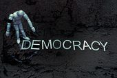 Democracy Title Word. Democratic Political Process. Generic Person Reflecting On World Politics Poss poster