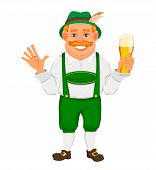 Oktoberfest, Beer Festival. Cheerful Man In Traditional Bavarian Clothes Holds A Glass Of Beer And W poster