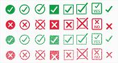 Button Icons Set For: Accepted/rejected, Approved/disapproved, Yes/no, Right/wrong, Green/red, Corre poster