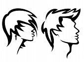 Womans e Mans estilos de corte de cabelo
