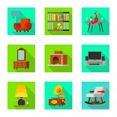 Isolated Object Of Comfort And Equipment Icon. Set Of Comfort And Furniture Stock Symbol For Web. poster