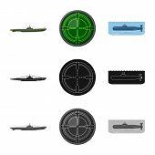 Vector Illustration Of War And Ship Symbol. Set Of War And Fleet Stock Vector Illustration. poster