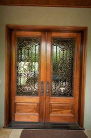 stock photo of front door  - An image of elegant detailed front doors - JPG