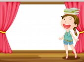 Illustration of a smiling girl with books on head on the stage