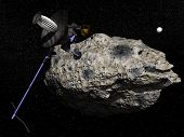 Galileo Spacecraft Discovering Dactyl Orbiting The Asteroid Ida - 3D Render
