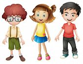 Illustration of smiling kids on a white background