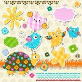 cute turtle and birds scrapbook elements