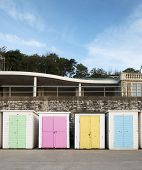 Beach Huts at Lyme Regis, Dorset, UK.