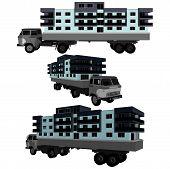 Movendo um edifícios de casa com um vetor de caminhão