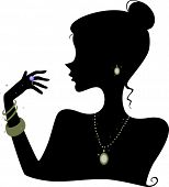Illustration Featuring the Silhouette of a Woman Wearing Various Accessories