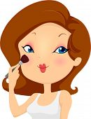 Illustration of a Girl Applying Blush Makeup on her Cheeks with a Brush