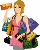 Illustration of a Woman Carrying an Assortment of Bags