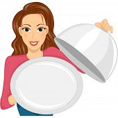 Illustration of a Woman Holding an Empty Dish Cover and Serving Plate
