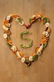 Five A Day! Healthy Heart! Fresh Fruit For Eating, Nutrition, Good Health & Dieting.