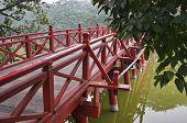 The Famous Red Bridge In Hanoi At Hoan Kiem Lake. Vietnam.