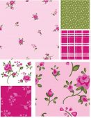 Delicate Vector Rose Flower Seamless Patterns and Elements. Use as fills, digital paper, or print off onto fabric to create unique items.