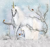 image of unicorn  - Fantasy Unicorn Winter Holiday Background  - JPG