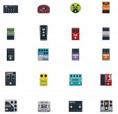 stock photo of stomp  - Vector guitar effects icons set - JPG