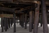SEASIDE HEIGHTS, NJ - JAN 13: Damaged wooden pilings that support the Casino Pier on January 13, 201