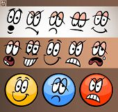 stock photo of maliciousness  - Cartoon Illustration of Funny Emoticon or Emotions and Expressions like Sad Happy Angry or Skeptic - JPG