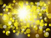 Yellow Abstract Blurred Background With Star, Bright And Beautiful
