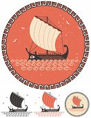 pic of historical ship  - Stylized illustration of ancient Greek ship in 4 different versions - JPG