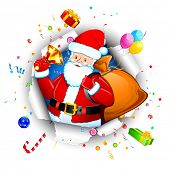 picture of goodies  - illustration of santa claus with christmas goodies coming out from torn paper - JPG