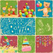Постер, плакат: Иллюстрация коллаж день рождения в стиле ретро с другой объект