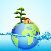 illustration of earth in splash of water with house and tree