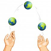 illustration of hand juggling with globe on white background