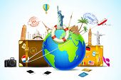 image of trolley  - illustration of travel baggage with world famous monument around globe - JPG