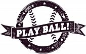 Vintage Style Play Ball Baseball Stamp